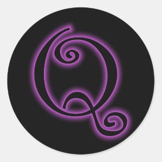 Q Monogram Purple Neon Classic Round Sticker