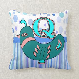 Q quail kid's name initial throw pillow