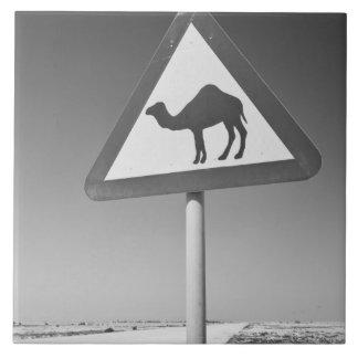 Qatar, Al Zubarah. Camel Crossing Sign-Road to Ceramic Tiles