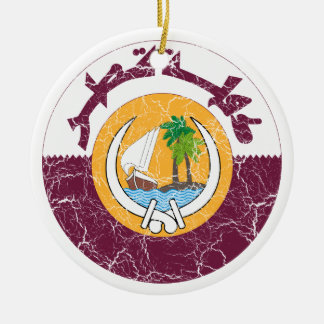 Qatar Coat Of Arms Ceramic Ornament