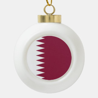 Qatar Flag Ceramic Ball Christmas Ornament
