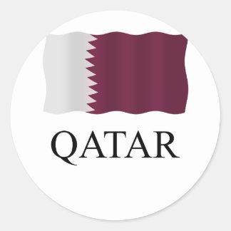 Qatar flag classic round sticker