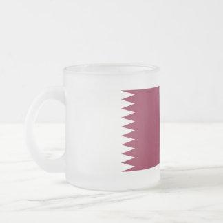 Qatar Flag Frosted Glass Coffee Mug