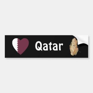 Qatar Flag Heart + Map Bumper Sticker