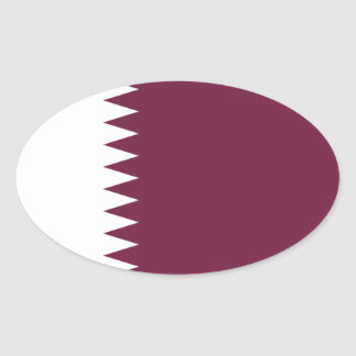 Qatar Flag Oval Sticker