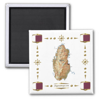 Qatar Map + Flags Magnet