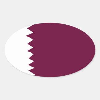 Qatar National Flag Oval Sticker