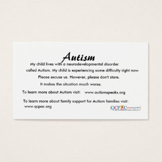 QCPAC logo Autism education cards