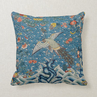 Qing Dynasty Rank Badge with Peacock Throw Pillow