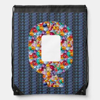 qqq qq q alpha initial name Birthday HappyBirthday Drawstring Backpacks