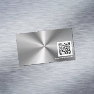 QR Code Ad Plain Sliver Metal Stainless Steel Look Magnetic Business Card