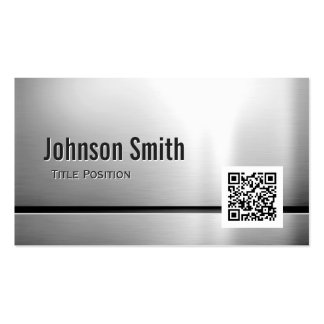 QR Code and Stainless Steel - Brushed Metal Look Pack Of Standard Business Cards