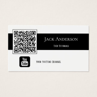 QR Code Black and White Vlogger Business Card