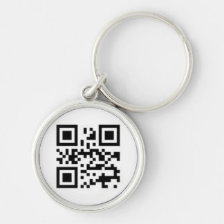 QR-code for love Silver-Colored Round Keychain