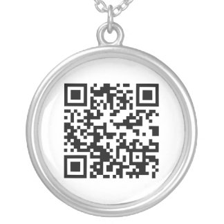 QR Code (Quick Response Code) - Black White Silver Plated Necklace