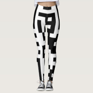 "QR Codes Funky Squares leggings reads ""call me"""