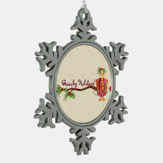 Quacky Holidays Ducks Pixel Art Snowflake Pewter Christmas Ornament