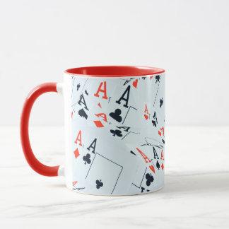 Quad Aces Poker Cards Pattern, Mug