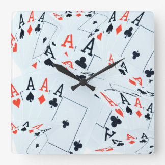 Quad Aces Poker Cards Pattern, Square Wall Clock