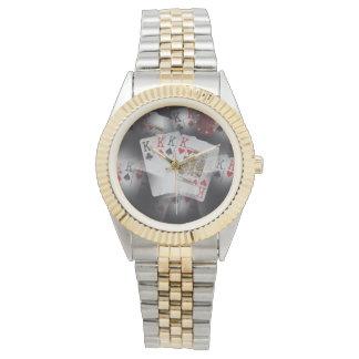 Quad_Kings_Poker_Mens_Two_Toned_Bracelet_Watch. Wristwatches
