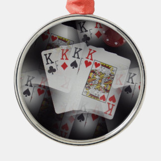 Quad_Kings,_ Silver-Colored Round Ornament