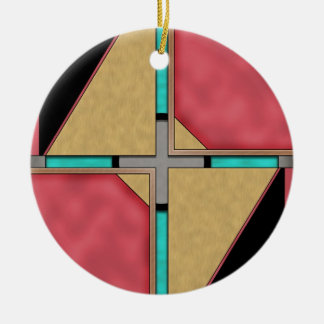 Quad Double-Sided Ceramic Round Christmas Ornament