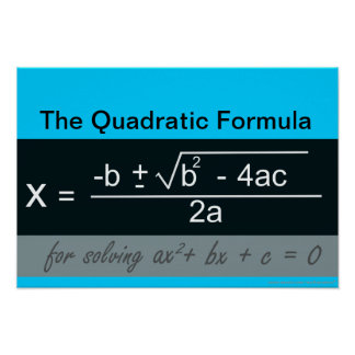 Quadratic Formula Math Poster