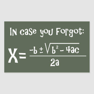 Quadratic Formula Reminder Sticker