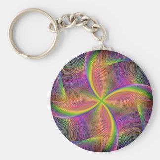 Quadratic rainbow basic round button keychain