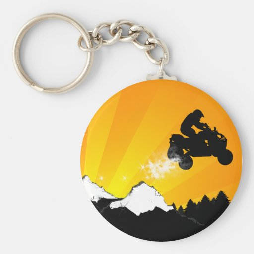 quads. orange sunset. keychain