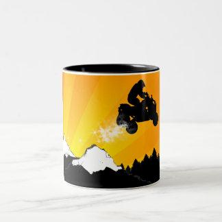 quads. orange sunset. coffee mug