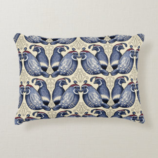 Quail Bird Navy and Cream Accent Pillow