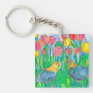 Quail Birds Watercolor Painting Keychain