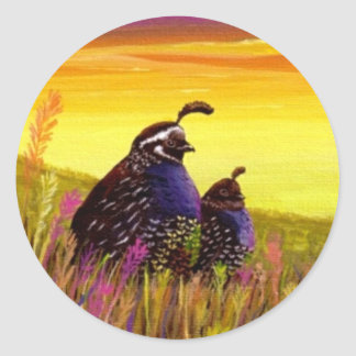 Quail Birds Wildlife Creationarts Lisa R Adams Round Sticker