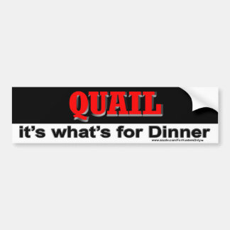 QUAIL it's what's for Dinner Bumper Sticker