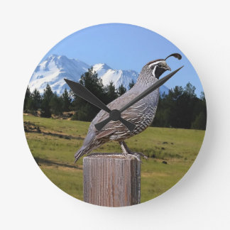 QUAIL ON DREAM POINT ROUND CLOCK