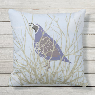 Quail Outdoor Throw Pillow