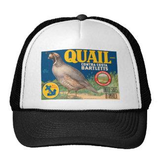 Quail Pears Fruit Crate Label Hat