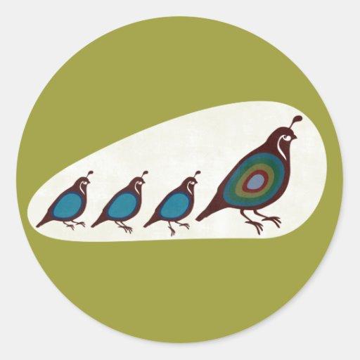 Quail Round Stickers