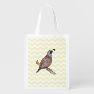 Quail watercolor painting on chevron pattern reusable grocery bag