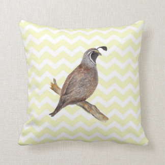 Quail watercolor painting on chevron pattern throw pillow