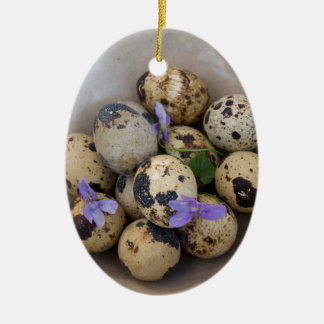 Quails eggs & flowers 7533 ceramic ornament