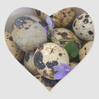Quails eggs & flowers 7533 heart sticker