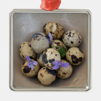 Quails eggs & flowers 7533 metal ornament