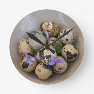 Quails eggs & flowers 7533 round clock