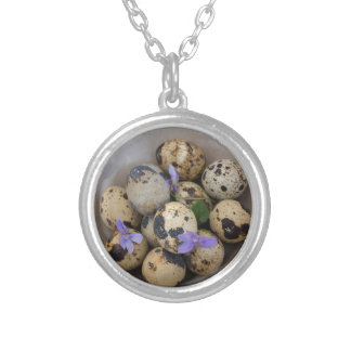 Quails eggs & flowers 7533 silver plated necklace