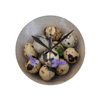 Quails eggs & flowers 7533 wall clocks