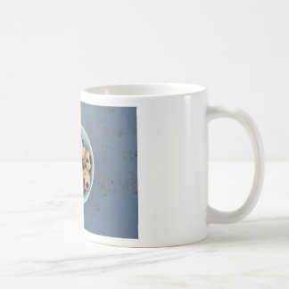 Quails eggs in a green bowl coffee mug