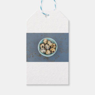 Quails eggs in a green bowl gift tags