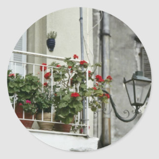 Quaint Balcony In Old Town Corfu flowers Classic Round Sticker
